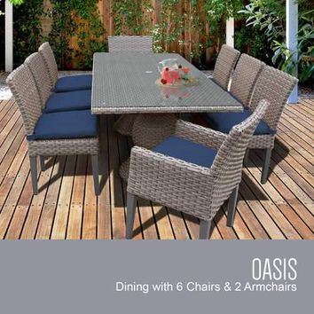 Oasis Rectangular Outdoor Patio Dining Table With 6 Armless Chairs And 2 Chairs W/ Arms