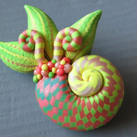 Amonite Brooch - Pink/Lime Green