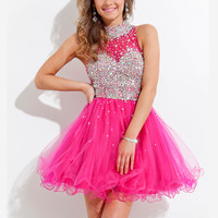 High Collar Beaded Bodice Keyhole Back Tulle Rachel Allan 6652 Homecoming Dress.