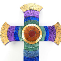 BEST SELLER, Large Mosaic Cross, Mosaic Cross, Stained Glass, Easter Cross, Unique Wall Cross, Decorated Crosses, Confirmation Gift