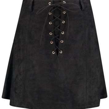 Inari Suedette Lace Up Front A Line Mini Skirt