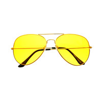 Classic Unisex Metal Night Driving Yellow Lens Aviator Sunglasses  A1950