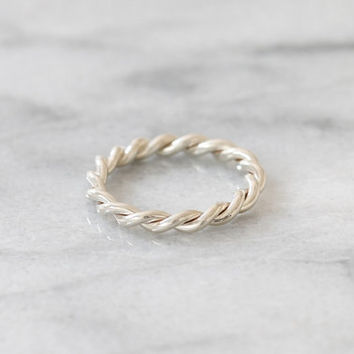 White Gold  Twisted Band, Rope Ring, Braided Twist Band, Stacking Ring, Simple Gold Ring, Wedding Ring, Twist Rope Ring