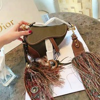 DIOR High Quality Fashionable Women Personality Leather Saddle Bag Shoulder Bag Crossbody Satchel
