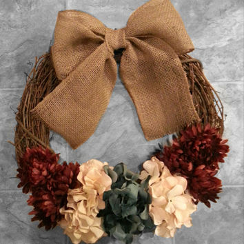 Grapevine Door Wreath with Hydrangea and Dahlia flowers with  Burlap Bow