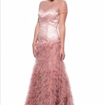 KC131578 Pink Feather Like Evening Gown by Kari Chang Couture