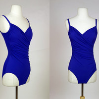 1980's purple ruched bathing suit, one piece swim suit, size medium swim wear, full coverage bathing suit