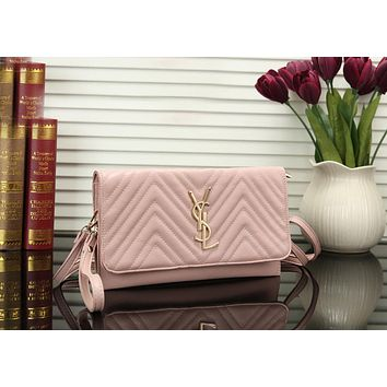 YSL Newest Fashionable Women Shopping Leather Shoulder Bag Crossbody Satchel Pink