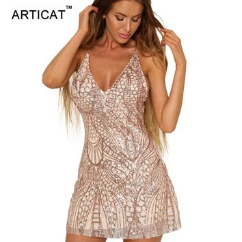 Articat Sexy Deep V Neck Sequin Dress Women Autumn 2017 Backless Party Short Dress Shinning Sequined Vintage Dresses Vestidos
