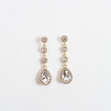 Tammy Teardrop Crystal Dangle Earrings