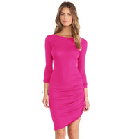 Pink Scoop Neck Long Sleeve Ruched Asymmetric Bodycon Dress