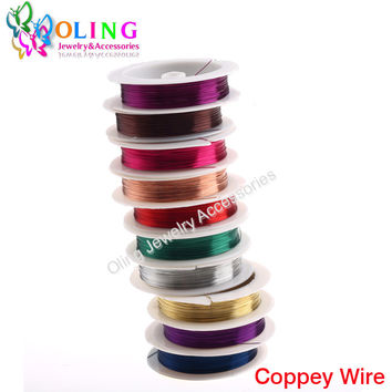 0.4MM 12M/Roll Copper Wire 2016 mixed multicolor plated Beading DIY Cord/String necklace Bracelet earrings choker jewelry making
