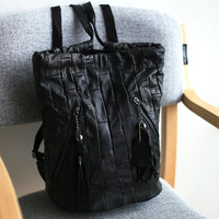 Leather Mosaic Black Korean Backpack Vintage Casual One Shoulder Messenger Bags [4915789124]
