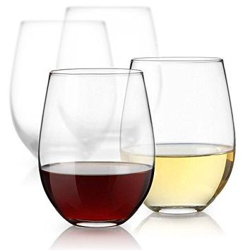 Sweese 4696 Stemless Wine Glasses  Glass Set for White or Red Wine15 and 18 Ounces Set of 4