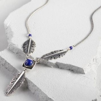 Lapis Lazuli and Silver Feather Pendant Necklace