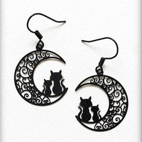 Moon Earrings, Cat Crescent Moon, Black Filigree Witchy Earrings, Gothic Jewelry, Gothic Gift, Black Cat Jewelry, Witch Jewelry