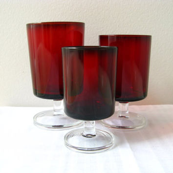 Vintage Glasses Ruby Red Cavalier Luminarc Mid by pillowsophi