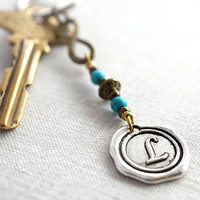 Infinity Love Keychain, Monogram Keychain, Womens Personalized Keychain, boyfriend gift, Custom Turquoise Keychain, Wax Seal, Gift for man