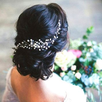 Metting Joura Wedding Party White Pearl Beads Braided  Hair Comb Hair Jewelry Hair Accessories
