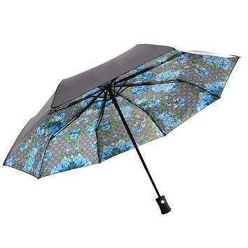 Gucci Popular UV Protection Fully Automatic Women Men Print Folding Umbrella Blue