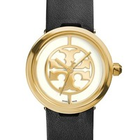 Women's Tory Burch 'Reva' Logo Dial Leather Strap Watch, 28mm - Black/ Gold