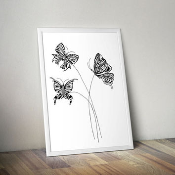 Printable art butterfly Illustration Summer Gift Download Black modern poster Printable poster Steampunk printable Abstract painting