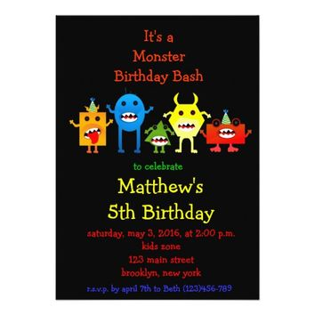 Little Monster Cute Kids Birthday Party Invite