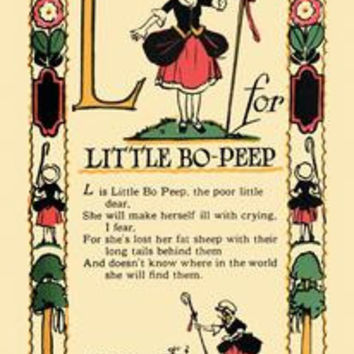 L for Little Bo-Peep: Fine art canvas print (12 x 18)