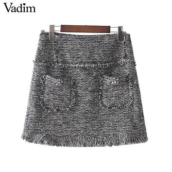 Vadim vintage fringe tassels faux diamonds beading skirts pockets zipper retro chic cute mini skirt faldas mujer BSQ633