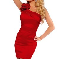 Designer Inspired One Shoulder Evening Cocktail Formal Party Sexy Mini Dress