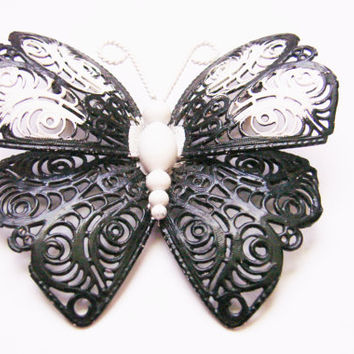 Large Monet Black & White Butterfly Brooch / Filigree / Enamel / Designer Signed / Vintage Jewelry