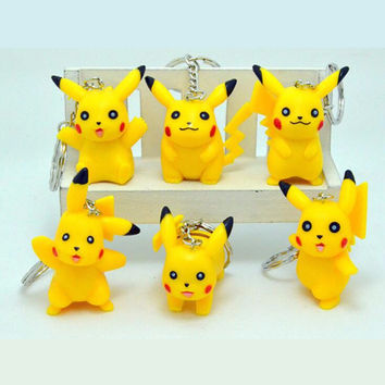 6pcs lot Hot Anime Pokemon keychain cosplay figure Pikachu keychains pendants Pocket Monster keyring