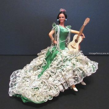 Vintage Souvenir Doll / Spain Spanish Flamenco Dancer with Guitar, Green and White Lace Dress, Bohemian Doll