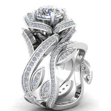 Museum 2.51CT Russian Lab Diamond Engagement Promise Wedding Floral Ring Bridal Set