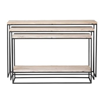 Lowell Nested Console Tables S/3 Recycled Wood Recycled Wood