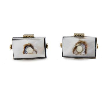 5e28cecf31ab Vintage Swank Cufflinks Lucite, Oyster Shell & Pearl