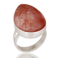 Natural Pink Opal Gemstone Solid 925 Sterling Silver Handmade Ring