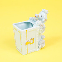 Vintage 1950s Baby Blue Gold Poodle Dog Mid Century Nursery Planter Toothbrush Holder Spaghetti Porcelain