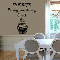 Wall Decals Words Quote Chocolate The Only Aromatherapy I Need Cake Kitchen Cafe Vinyl Decal Sticker Kids Nursery Baby Room Decor kk694