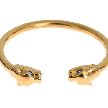 Gold Panther 925 Sterling Bangle Bracelet