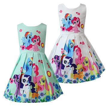 Kids Dresses For Girls little Pony Children's Dresses Rainbow Dash Pinkie Pie Dress Cute Pony Princess Party Dress Clothes 8Yrs