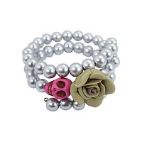 Day of the Dead Turquoise Skull and Rose Pearl Bracelet