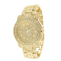 Roman Numeral Dial Watch 14k Yellow Gold Tone Lab Diamond
