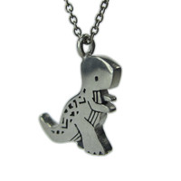 Tyrannosaurus Rex Dinosaur Necklace with Geometric Design