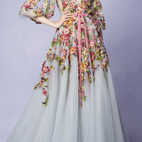 Embroidered V-Neck Gown | Moda Operandi