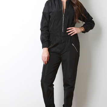Bomber Zip Up Jumpsuit