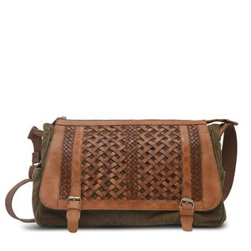 Woven Abby Messenger Bag in Sage