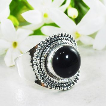 Luna Sterling Silver Ring - Black Onyx