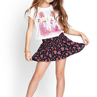 FOREVER 21 GIRLS Smocked Floral Print Skirt (Kids) Black/Pink