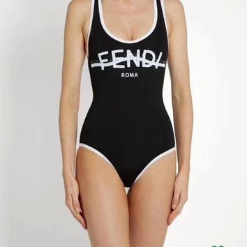 Fendi Summer Fashion Off Shoulder Strapless one Piece Bikini Swimsuit Black